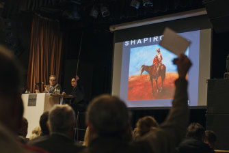 Hugh Sawrey's The Drover's Wife was sold for $23,000, $11,000 over the estimate.