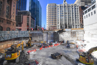 Construction is under way at the site for the Sydney Metro station in Martin Place.