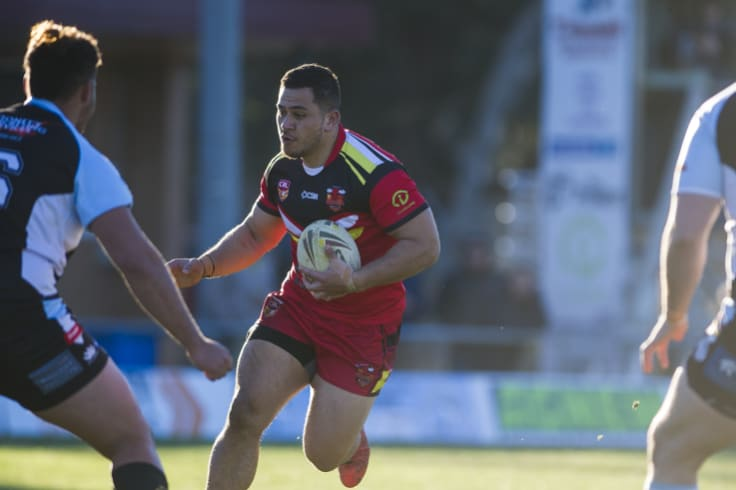 Bull Esi Tonga goes for a charge.