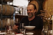Hugo Weaving enjoys a glass of san genovese over lunch at the Urban Winery Sydney in Moore Park.
