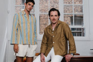 Former RM Williams creative director Jeremy Hershan, with model Cal Fernie, wearing his new collection for Haulier.