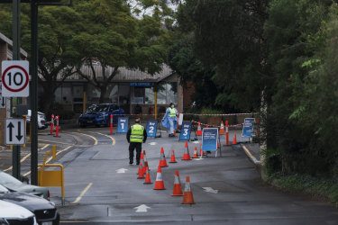 The COVID-19 testing site in Summer Hill where passengers of a Jetstar flight from Melbourne to Sydney on Tuesday were brought after not being screened before leaving the airport.