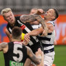 Boos and roars bring footy back to life without a hitch at Optus Stadium