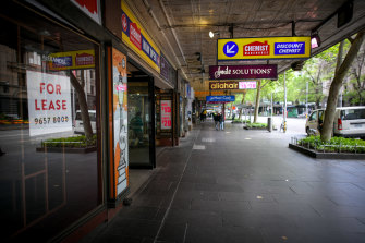 One in five shops in Melbourne's CBD are vacant due to a string of lockdowns.