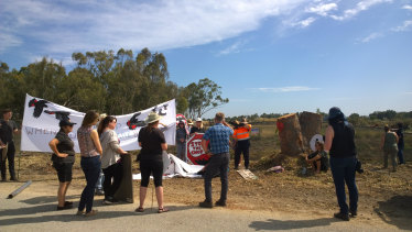 Protesters at the Kenwick development site.