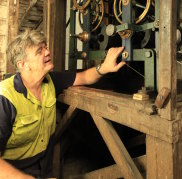Andrew Markerink installing the refurbished workings of the Hyde Park barracks clock.