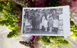In the early years: Joe (left) and family in the shop.