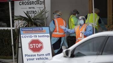 A drive through Coronavirus testing clinic at the Crossroads Hotel in Casula.