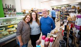 """""""They're happy people my family"""": Maria, Luisa and Joe in the shop."""