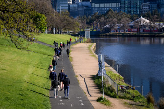 Scenes from Melbourne lockdown, along the Yarra on Saturday morning.