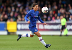 Sam Kerr on debut for Chelsea in their Super League match against Reading at Kingsmeadow in Kingston-upon-Thames on Sunday.