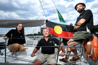 Skipper Wayne Jones, centre, and crew members Naomi Cain  and Danny Teece-Johnson of Tribal Warrior.