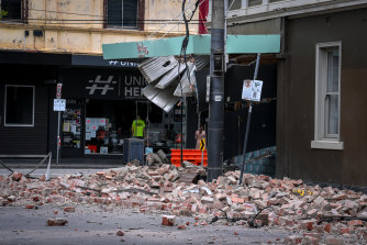A damaged building on Chapel Street after the 5.9 magnitude earthquake on Wednesday morning.