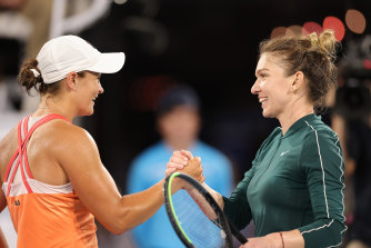 Barty and Simona Halep after Friday's hitout in Adelaide.