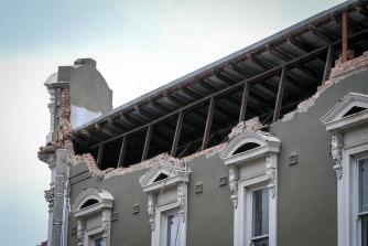 A damaged building on Chapel Street.