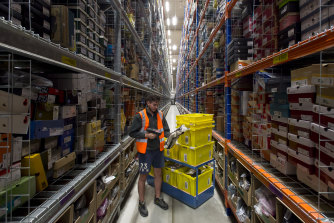 Inside an Amazon fulfilment centre.