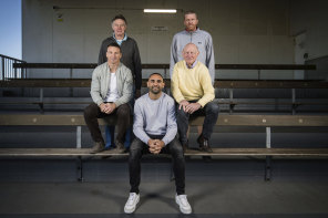 The 400 club: from left, Brent Harvey, Michael Tuck, Shaun Burgoyne, Kevin Bartlett and Dustin Fletcher. Photo DIGITALLY ALTERED.