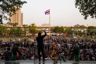 A protest at Kasetsart University was among dozens held during the censure debate.