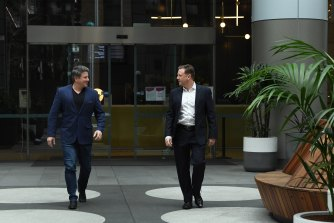 Nine chief executive Mike Sneesby and Chris Taylor, NBCUniversal managing director of networks and distribution in Australia and New Zealand after signing a licensing deal last year.