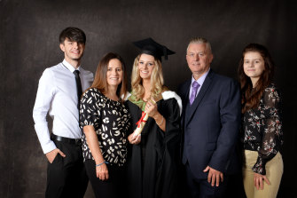 Danielle Bunning (centre) after her graduation from her university in England last year.