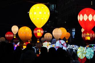People celebrate in Seoul.
