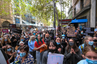 Protesters at the Women's March 4 Justice at Treasury Gardens in Melbourne.