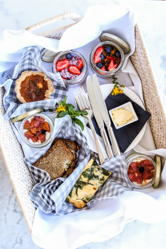 In the foothills of the NSW Snowy Mountains, Three Blue Ducks at  Nimbo Fork Lodge offers breakfast hampers filled with local produce.