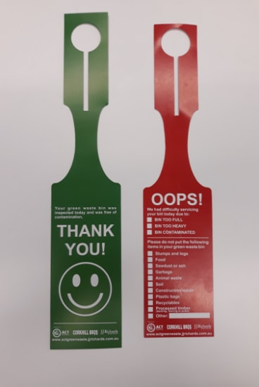 A green or red tag is being left on green waste bins that have been inspected.