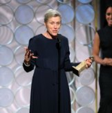 """Frances McDormand accepting the award for best actress for her role in """"Three Billboards Outside Ebbing, Missouri,"""" at the 75th Annual Golden Globe Awards."""