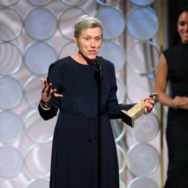 "Frances McDormand accepting the award for best actress for her role in ""Three Billboards Outside Ebbing, Missouri,"" at the 75th Annual Golden Globe Awards."