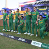 South African players before their match against Australia.