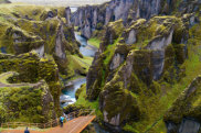 PE35M3 Fjaorargljufur Canyon, Southern Iceland Iceland canyon overrun by tourists after being used for Justin Bieber video