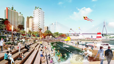 """Floating bars and harbour pools are among ideas being put forward. """"The government doesn't do imagination very well, but the private sector does,"""" Mr Perrottet said."""