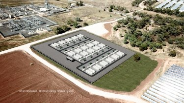 The proposed 200MW-hour battery that will sit alongside one of Australia's largest solar plants, and help meet much of the NSW government's electricity demand.