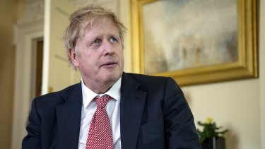 British Prime Minister Boris Johnson records a video message on Easter Sunday following his release from hospital.