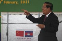 Cambodia Prime Minister Hun Sen at a handover ceremony of Chinese vaccines.