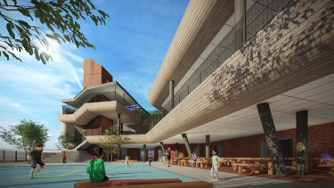 An artist's impression of Docklands Primary School which is currently under construction and due to open in 2021.