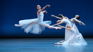 Dimity Azoury dances in the Serenade portion of Australian Ballet's triple bill New York Dialects.