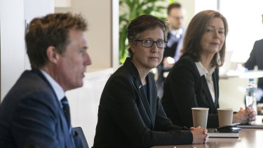 ACTU secretary Sally McManus (centre) has warned the government not to forget women in its coronavirus recovery plans.