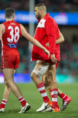 Bittersweet: Lance Franklin was on fire before limping off with a hamstring injury in the third quarter.