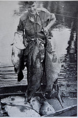 Derek Falconer, father of Snobs Creek local Rod Falconer, in the early days of the hatchery.
