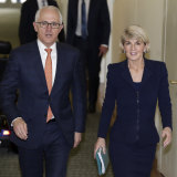 Malcolm Turnbull and Julie Bishop leave the party room meeting for the leadership at Parliament House in Canberra on  Friday.