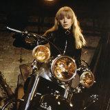 Marianne Faithfull on the set of <i>The Girl on a Motorcycle</i>.