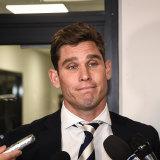 Tom Hawkins at the AFL tribunal.