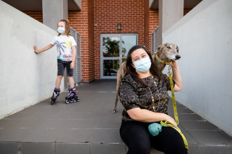 Jayda and her son Liam with their rescue dog Wombat.