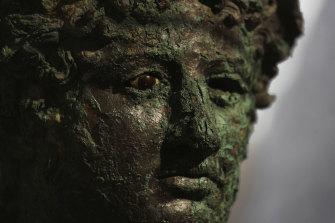 A Dionysus bust is displayed at the museum Antiquarium, in Pompeii.