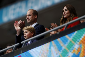 The Duchess of Cambridge alongside Prince William, President of the Football Association at Prince George at the UEFA Euro 2020 Championship Round of 16 match between England and Germany at Wembley Stadium on June 29.