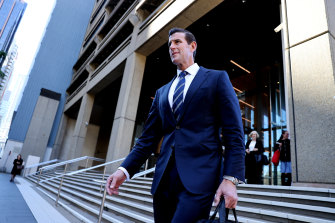 Ben Roberts-Smith leaves the Federal Court in Sydney on Wednesday.