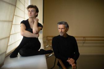 Australian Ballet School post-grad student Luke Tabbernal with choreographer Simon Dow.