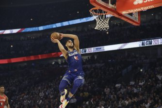 Ben Simmons of Team LeBron dunks during the NBA All-Star game in Chicago.